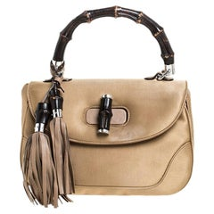 Gucci Gold Satin and Leather Bamboo Top Handle Bag
