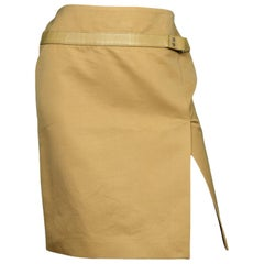 Gucci Gold/Tan Cotton Pencil Skirt W/ Side Slit & Leather Trim Sz 40
