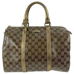 Gucci Gold Tone Crystal Monogram Medium Joy Boston Bag