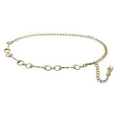Gucci Gold Tone Horsebit Chain Belt
