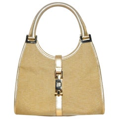 Gucci Gold Tone Mesh With Top Handle Evening Bag