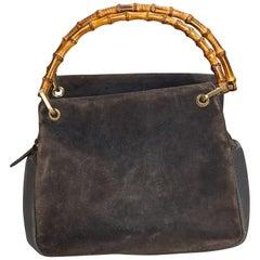 Gucci Gray Bamboo Suede Handbag