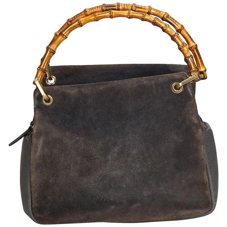 90b973faee8e Gucci Gray Bamboo Suede Handbag at 1stdibs