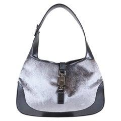 Gucci Gray/Black Velvet/Leather Hobo Bag