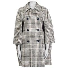 GUCCI gray CHECK WOOL MADRAS CAPE Coat Jacket 44 L