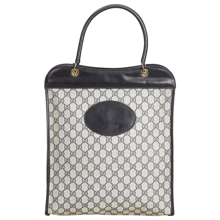 a8ab67faa83173 Gucci Gray GG Coated Canvas Tote Bag at 1stdibs