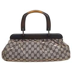 Gucci Gray  with Black Canvas Fabric GG Handbag Italy w/ Dust Bag