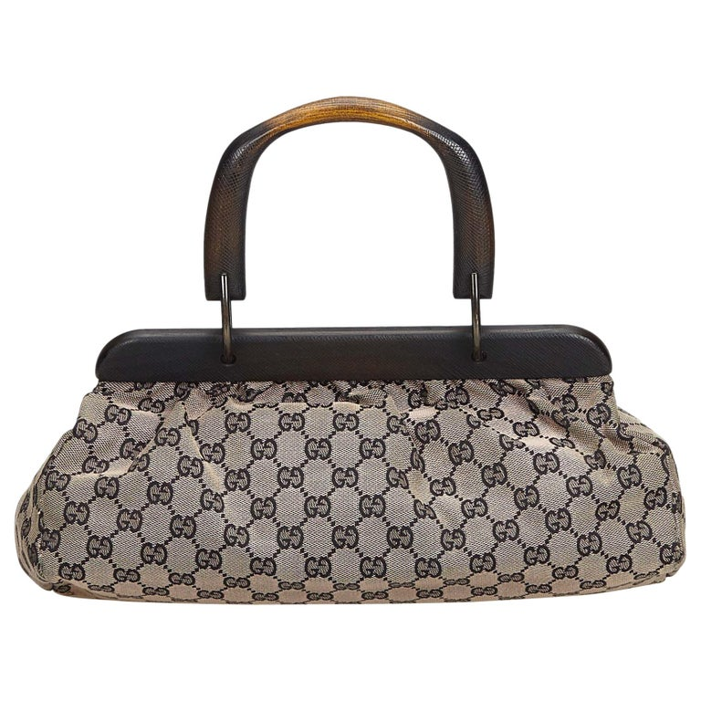 08f6b8a2f Gucci Gray with Black Canvas Fabric GG Handbag Italy w/ Dust Bag For Sale