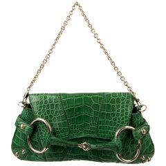 Gucci Green Alligator Exotic Leather Gold Envelope Clutch Shoulder Flap Bag