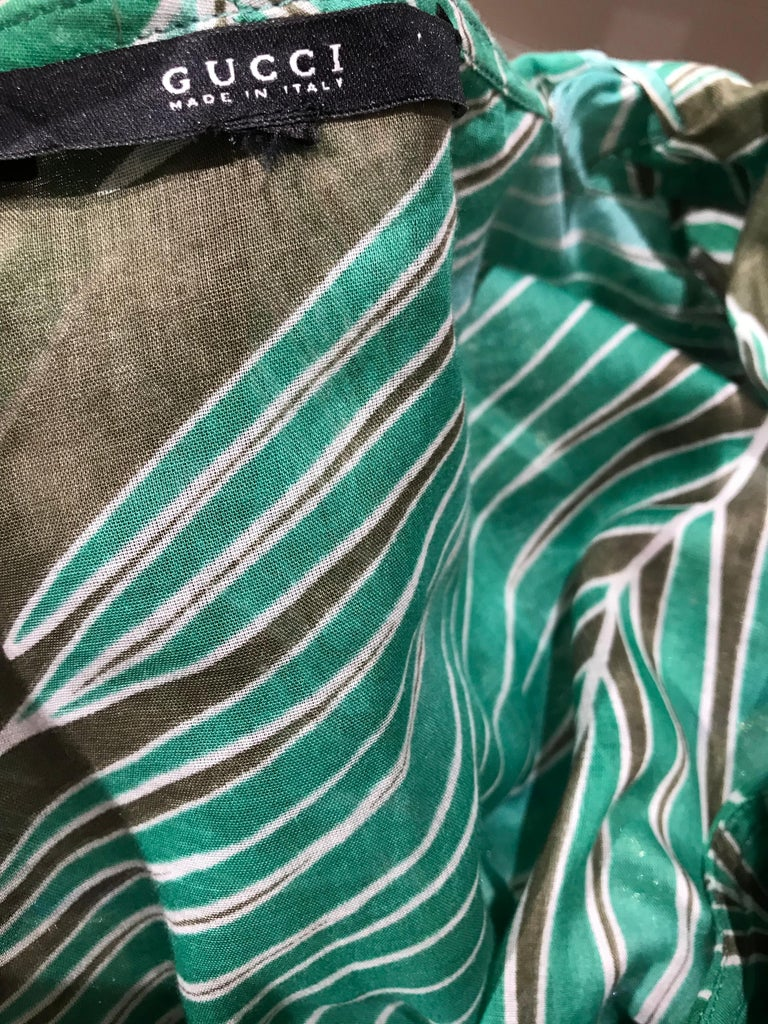 Gucci Green Cotton Leaf Print Long Sleeve Blouse For Sale 4