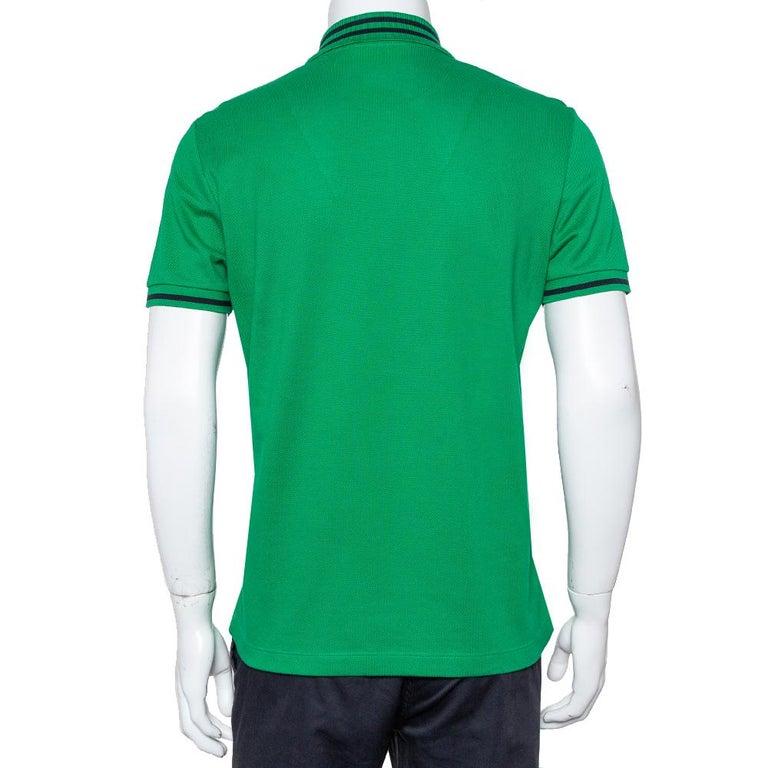 Gucci Green Cotton Pique Bee Embroidered Polo T-Shirt M In Good Condition For Sale In Dubai, Al Qouz 2