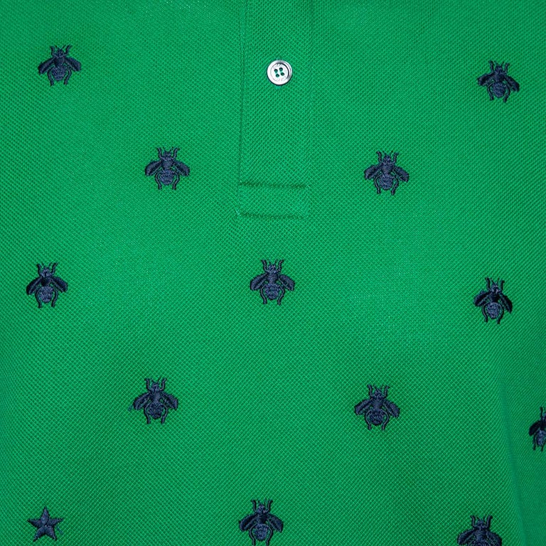 Women's Gucci Green Cotton Pique Bee Embroidered Polo T-Shirt M For Sale