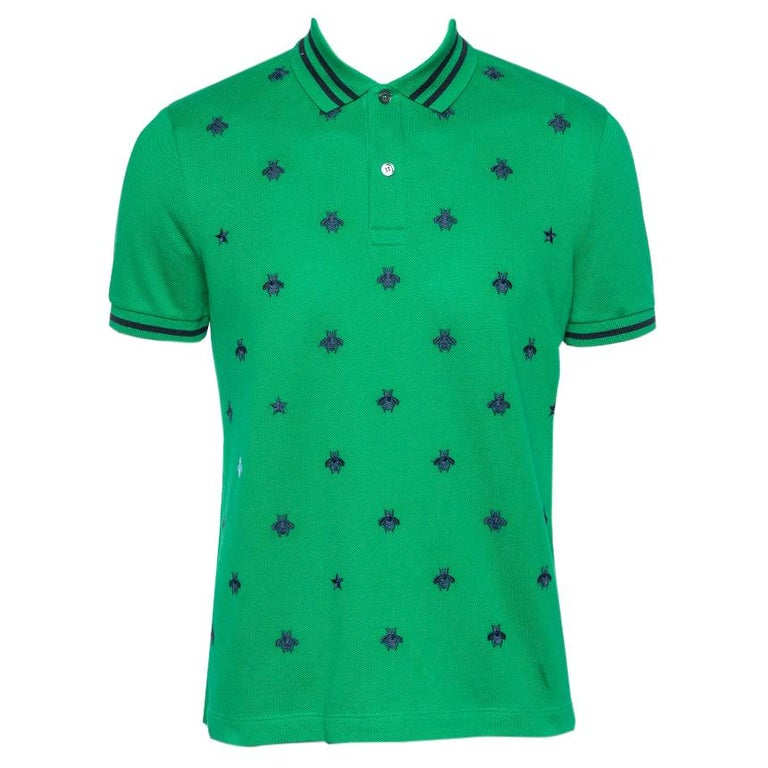 Gucci Green Cotton Pique Bee Embroidered Polo T-Shirt M For Sale