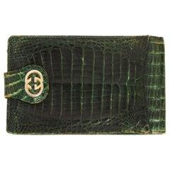 Gucci Green Crocodile Leather Vintage Check Holder, 1970s