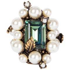 GUCCI green CRYSTAL & PEARL FLOWERING Ring Sz 7.5