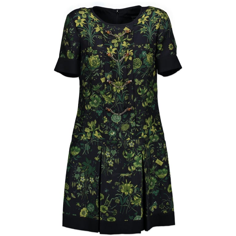 d5616654314 Gucci Green Floral Bamboo Dress - IT Size 38 In Excellent Condition For Sale  In Antwerp