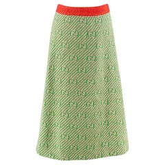 Gucci Green GG Diagonal Striped Wool Knit Skirt - Size XS
