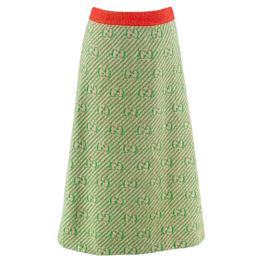 Gucci Green GG Diagonal Striped Wool Knit Skirt - Size XS