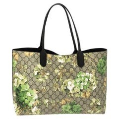 Gucci Green GG Supreme Canvas Blooms Reversible Tote