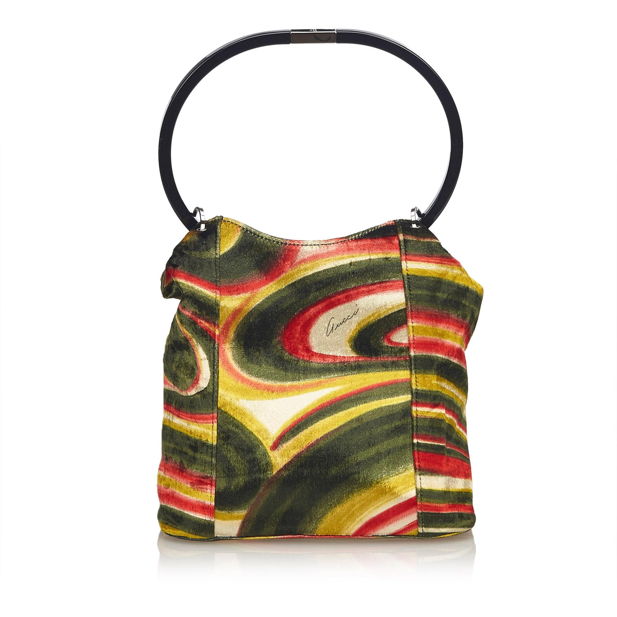 b12f905ae453e0 Gucci Green Graphic Print Velour Handbag at 1stdibs