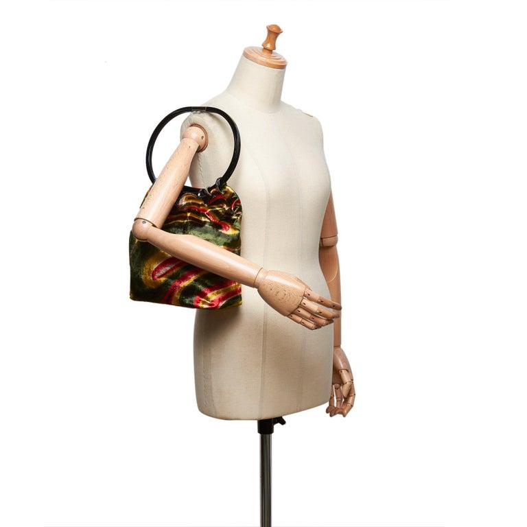 e61f1541c Gucci Green Graphic Print Velour Handbag For Sale 4