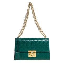 Gucci Green Guccissima Leather Medium Padlock Shoulder Bag