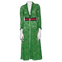 Gucci Green Lace Zip-Front Midi Dress 38