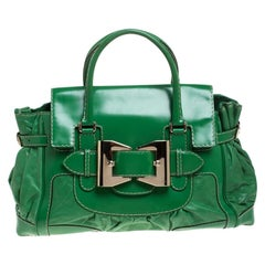 Gucci Green Leather and Patent Leather Large Dialux Queen Tote