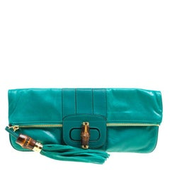Gucci Green Leather Bamboo Detail Tassel Lucy Fold Over Clutch