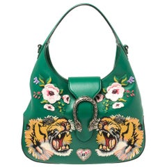 Gucci Green Leather Embroidered Tiger Head Large Dionysus Hobo