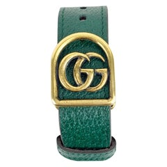 Gucci Green Leather GG Marmont Belt Bracelet Size L Never Worn
