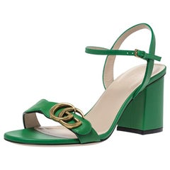 Gucci Green Leather GG Marmont Block Heel Ankle Strap Sandals Size 37.5