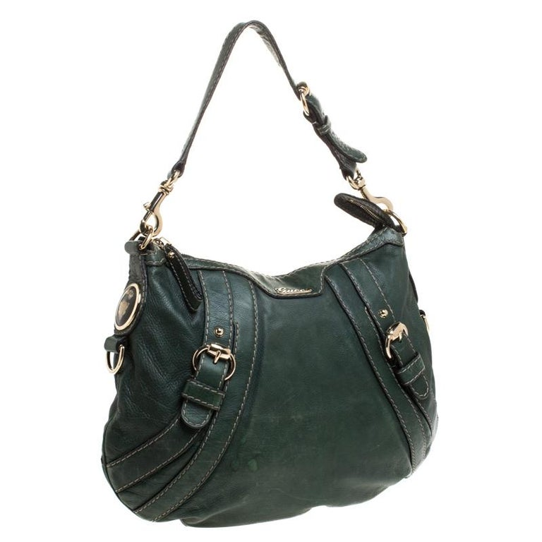 Women's Gucci Green Leather Hysteria Shoulder Bag For Sale