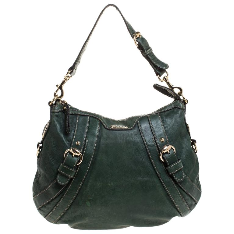 Gucci Green Leather Hysteria Shoulder Bag For Sale
