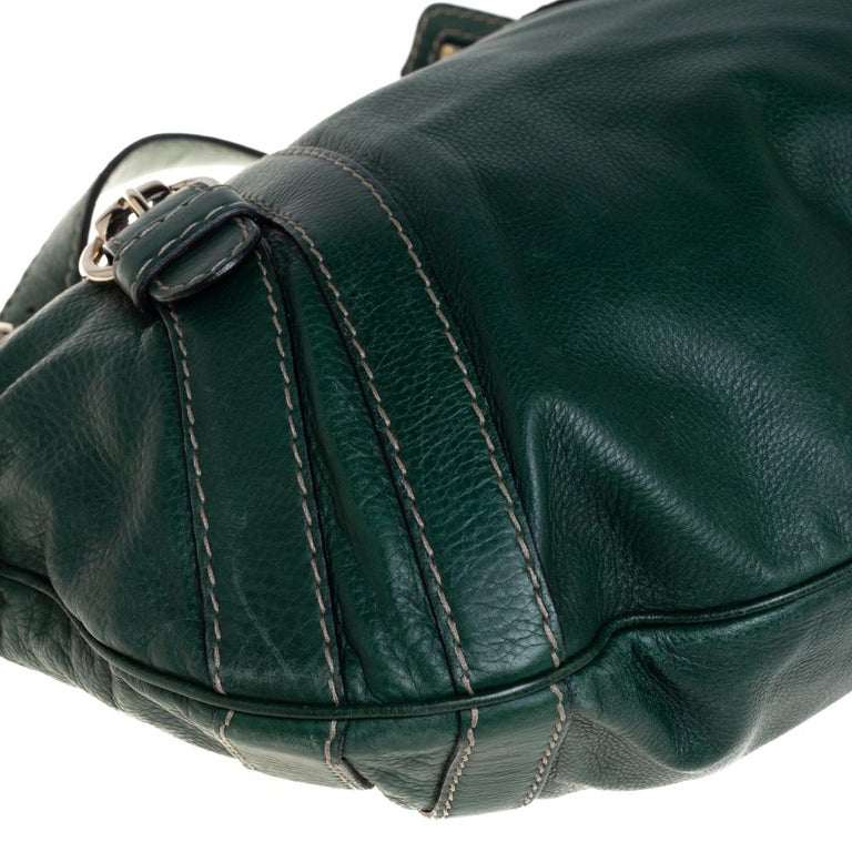 Gucci Green Leather Medium Crest Boule Hobo For Sale 5