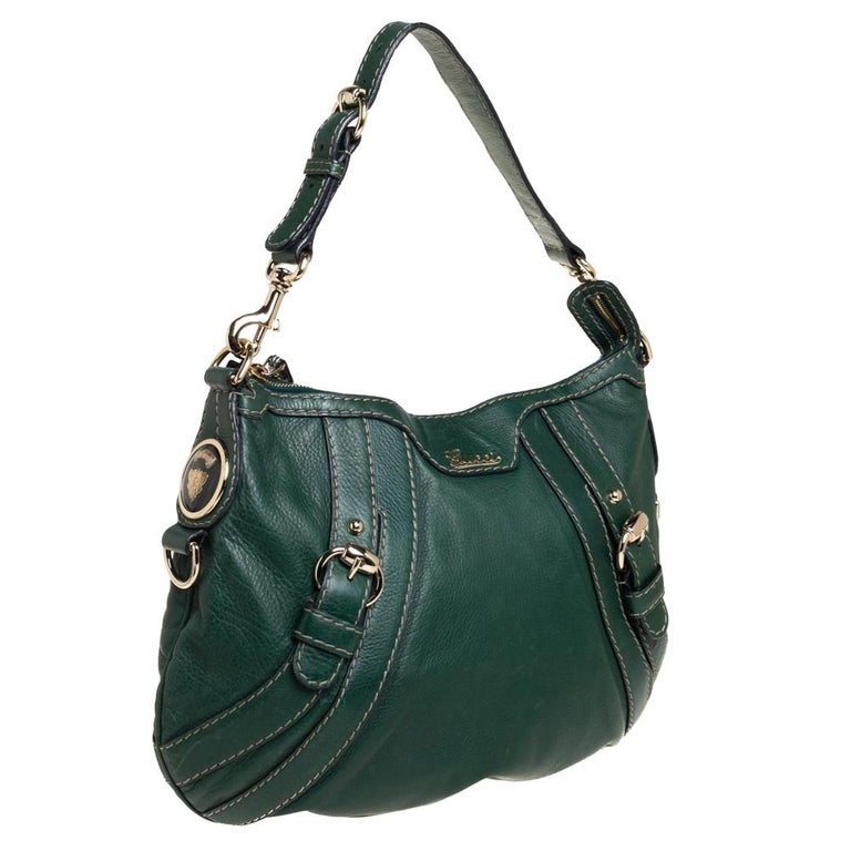 Black Gucci Green Leather Medium Crest Boule Hobo For Sale