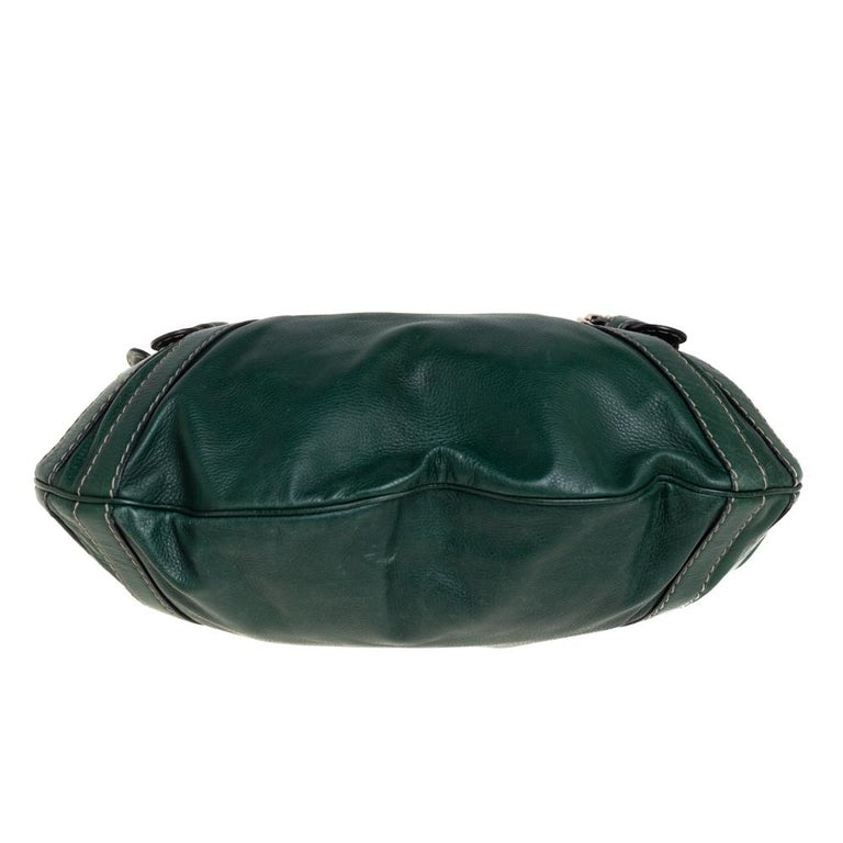 Women's Gucci Green Leather Medium Crest Boule Hobo For Sale