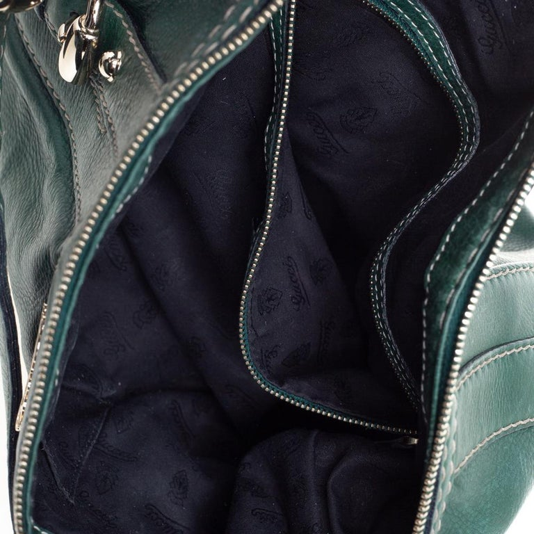 Gucci Green Leather Medium Crest Boule Hobo For Sale 1