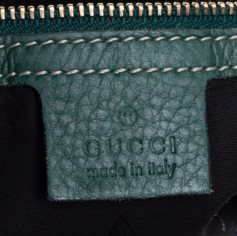 Gucci Green Leather Medium Crest Boule Hobo For Sale 2