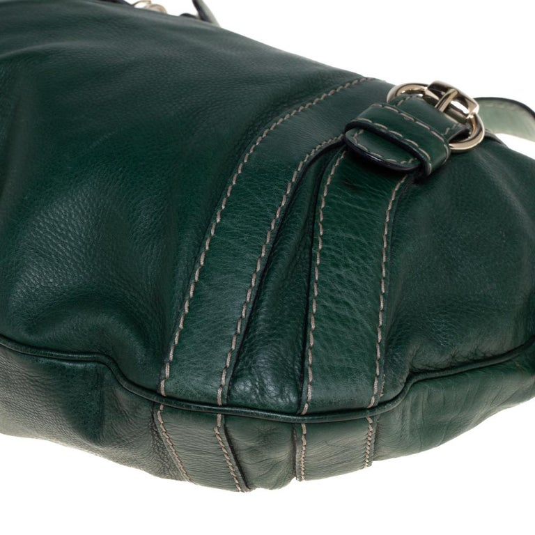 Gucci Green Leather Medium Crest Boule Hobo For Sale 4