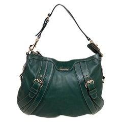 Gucci Green Leather Medium Crest Boule Hobo