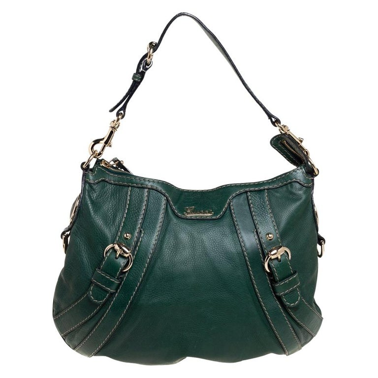 Gucci Green Leather Medium Crest Boule Hobo For Sale