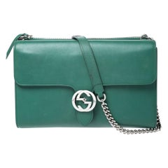 Gucci Green Leather Medium Interlocking GG Shoulder Bag