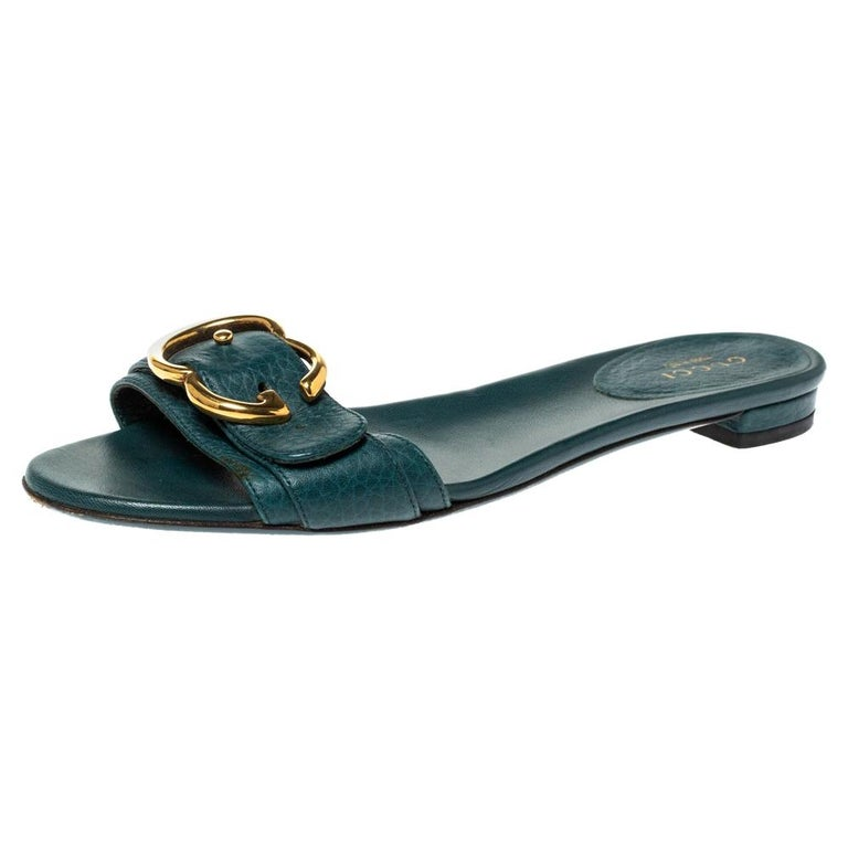 Gucci Green Leather Sachalin Buckle Detail Flat Slides Size 35.5 For Sale