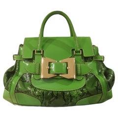 Gucci green leather snake skin gold tone hardware shoulder handle bag