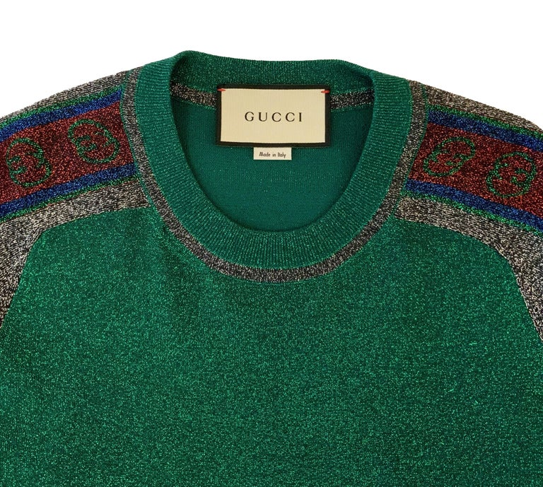 Gucci Green Metallic T-Shirt Dress In Excellent Condition For Sale In Geneva, CH