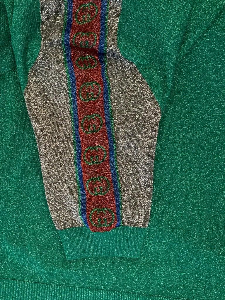 Women's Gucci Green Metallic T-Shirt Dress For Sale