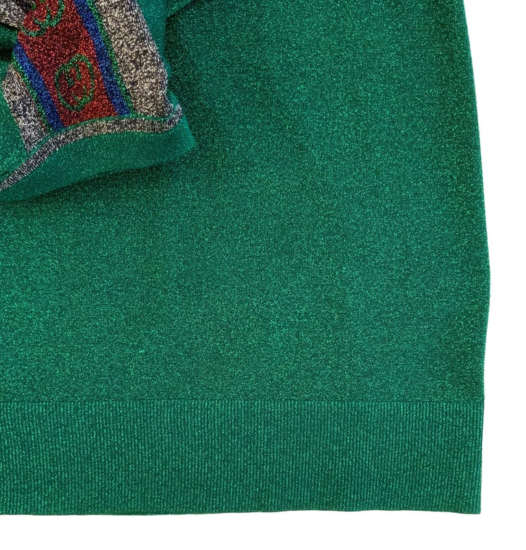 Gucci Green Metallic T-Shirt Dress For Sale 1