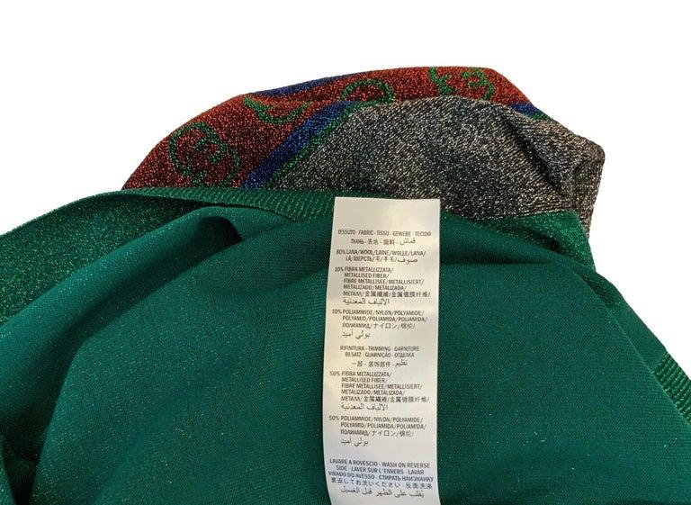 Gucci Green Metallic T-Shirt Dress For Sale 3