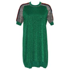 Gucci Green Metallic T-Shirt Dress